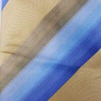 Kenneth Cole New York Mens Necktie Striped Classic Silk Neck Tie Gold Blue