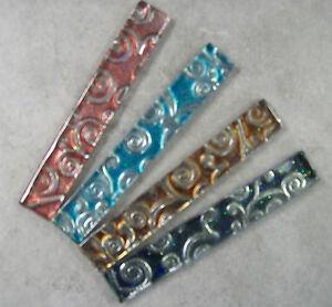 Silver Scroll Glass Listello Border Tiles - 4 Colours - Various Pack Sizes