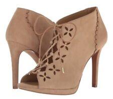 NIB Size 9 Michael Kors Thalia Suede DR Khaki Lace Up Bootie Heels Retail $185