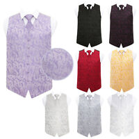 DQT Premium Woven Floral Formal Casual Tuxedo Mens Wedding Waistcoat Tie Set
