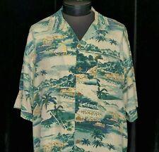 Tommy Bahama Relax Hawaiian Luau Shirt Silk Islands Palms Boat Sz L Blue Green