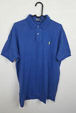 Homme Ralph Lauren Blue Vintage à Manches Courtes Polo Shirt Top Très bon état UK L