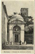 Stampa antica RAVENNA Tomba di Dante Romagna 1891 Old antique print