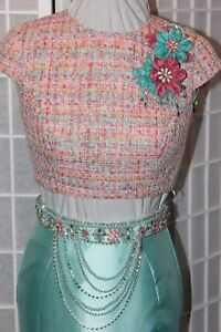 NWT Mac Duggal 40834 Size 4 Aqua multi two piece long formal evening PROM gown