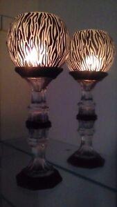One TALL Candles Holders Black zebra in Glass Vase Art Work wedding Light