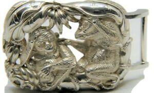 Barry Kieselstein Cord Sterling Silver Jungle Monkey Belt Buckle