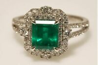 Sapphire Green Vintage Art Deco 3.55 ct White Diamond Antique Engagement Ring KY