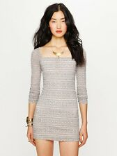 NWT Free People Good Girl Gone Bad Lace Bodycon Fitted Dress Lined Sz L