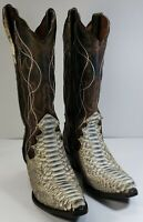 Dan Post Python Snake Skin Western Boots Men's sz 8 M Cowboy Boots brown leather