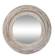 New round shabby chic Textured wall mirror with clay and white wash frame timber
