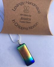 Dichroic Fused Glass Rainbow Pendant Necklace Valentines Gift Mother's Day