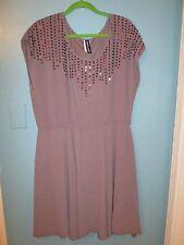 Women's Plus 3X Taupe Sleeveless Dress w/Neckline Sequin Beaded Detail