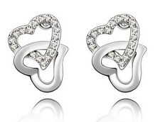 Elegant & Stylish Double Hearts Silver & White Crystals Stud Earrings E245