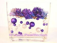 80 Unique Jumbo & Assorted Sizes Purple & White Pearls Vase Fillers Value Pack