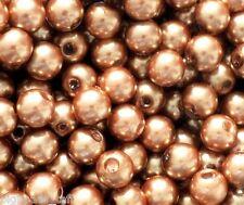 100 PC Abalorios acrílicos, perlas de imitación, Redondo, Brown, 8 Mm