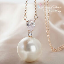 18K Rose Gold Plated Simulated Large Pearl Diamond Stunning Long Necklace