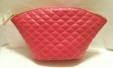 bareMinerals Red Pink Leather Quilted Tufted Makeup Cosmetic Bag NEW