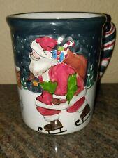 "BUCHASE 5"" VINTAGE SANTA CLAUS Ice Skating MUG 2002 CHRISTMAS Skate Coffee Cup"