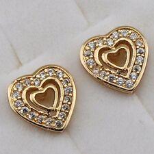 Jewelry Yellow Gold Filled Stud Earrings h2706 Hot Heart in Heart White Cz Gem