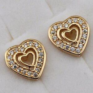 Hot Heart in Heart White CZ Gem Jewelry Yellow Gold Filled Stud Earrings h2706