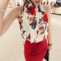 Women's Sleeveless Chiffon Blouse Floral Pleated Ladies Shirt Tops S-2XL