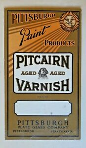 PA Pittsburgh advertising label Pitcairn Varnish Paint Plate Glass Products sun