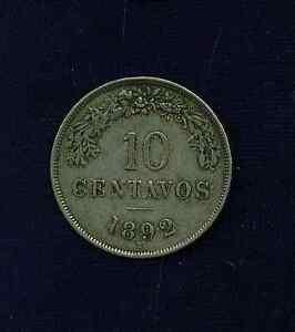 BOLIVIA  REPUBLIC   1892-H   10 CENTAVOS COIN  VF/XF