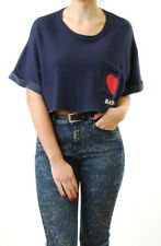 Wildfox Frauen Wissenschaft Schichtung Sweatshirt Herzfrequenz abgeschnitten bla