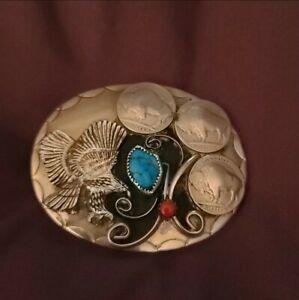 Vintage Navajo Tom Singer Buffalo Turquoise/Coral Sterling Silver Belt Buckle