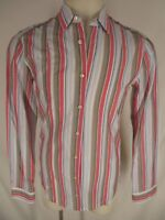 Hugo Boss Orange Mens Multicolor Stripe Long Sleeve Cotton Shirt M
