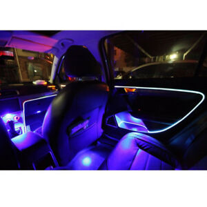 2pcs 4M Blau LED Auto Ambientebeleuchtung Innenraumbeleuchtung Lichtleiste Linie