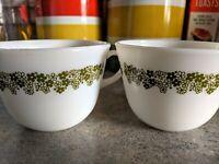 Vintage Pyrex Spring Blossom Coffee Mugs (2). Also Called Crazy Daisy
