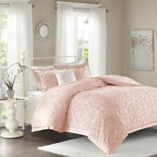 Deluxe Soft Cotton White Pink Blue Medallion Comforter King Queen 4 pcs Set