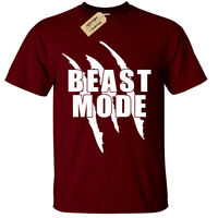 BEAST MODE T-SHIRT MENS GYM BODYBUILDING MOTIVATION TRAINING WORKOUT FIGHTING