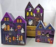 3 Halloween Haunted House Shape Nesting Gift Boxes treats decor skeleton ghosts