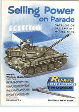 1958 PAPER AD Renwal Blueprint Models Toys Walker Bulldog US Army Tank Ontos