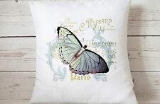 "Paris Butterfly - 16"" cushion cover French shabby vintage chic - UK handmade"