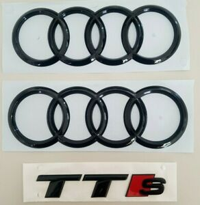 original Audi TTS schwarze Ringe vorne hinten TT 8S ab 2014 Audiringe Schriftzug