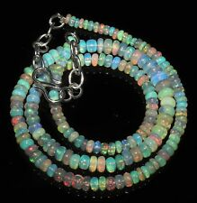 """43TCW 3to 5.5MM 16""""NATURAL GENUINE ETHIOPIAN WELO FIRE OPAL BEADS NECKLACE-90992"""