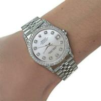 Rolex 31mm Datejust With custom Diamond bezel White MOP Mother Of Pearl Diamond