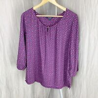 MAINE Purple Multi Floral SIZE 16 UK 3/4 Sleeve Tunic Style Top