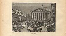 Stampa antica LONDRA LONDON Trafalgar Square 1893 Old Antique Print
