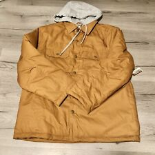 Open Trails Quilted Hooded Jacket Tan Gray Mens L New