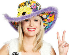 hippie CHAPEAU Flower Power lilas neuf - Carnaval Chapeau couvre-chef