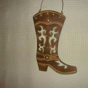 """16"""" Unisex Western Cowboy Boot Rustic Look Tin Sign Wall Decor Used FREE SHP"""