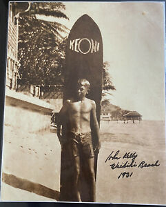 Vintage photo sepia toned print SIGNED By John Kelly Surf 687