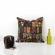 """Black Patchwork Pillow Embroidered Decorative Throw 16"""" Cushion Cover Ethnic Art"""