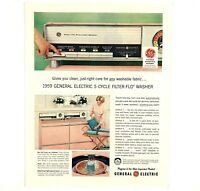 1959 Advertising General Electric 5 Cycle Filter Flo Washer GE Vintage Print Ad