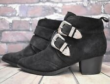 Women's Topshop Black Leather Buckle Up Mid Heel Ankle Boots UK 4 EUR 37 RRP-£55
