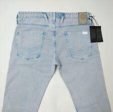 Replay Anbass Mens Jeans Light Blue Slim Stonewash Stretch W32 L34 New RRP£145